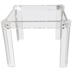 Vintage Lucite Peg Game Dining Table Square Hollywood Regency Glass Top