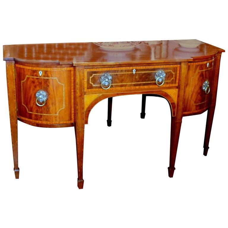 Antique English Inlaid Figured Mahogany Hepplewhite Style Bow-Front Sideboard