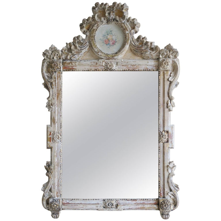 8824e208f6dd 19th Century French Painted Louis XV Style Mirror For Sale at 1stdibs