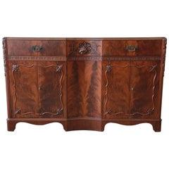 Landstrom Furniture French Carved Flamed Walnut Sideboard Buffet