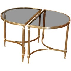Pair of Early 20th Century French Brass Demi-Lune End Tables with Glass Top