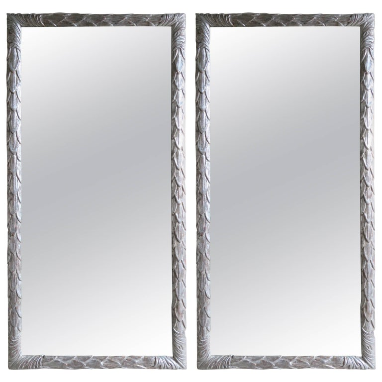 Pair of Italian Silver Gilt Bamboo Motif Carved Mirrors For Sale
