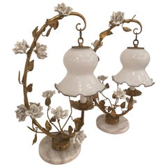 Pair of White Rose and Gold Gilt Italian Tole Table Lamps Lanterns