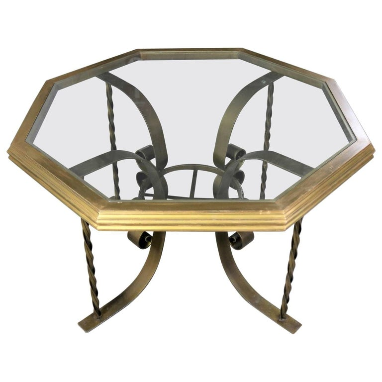 Hollywood Regency Wrought Iron Dining Table Octagon Gilded Wood Rimmed Glass Top