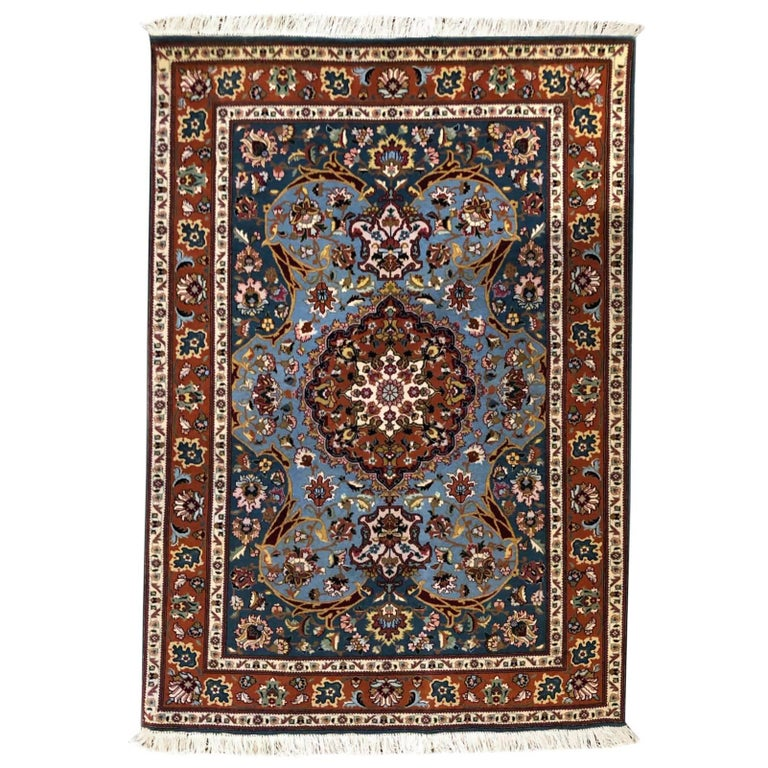 Persian Hand-Knotted Medallion Floral Tabriz Rug