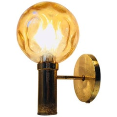Vintage Danish Sphrical Brass and Optical Glass Sconce by Vitrika, 1970s