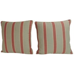 Pair of Red and Green Bennison Stripe Fabric Decorative Pillows