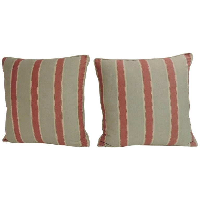 CLOSE OUT SALE Pair Of Red And Green Bennison Stripe Fabric Inspiration Fabric For Decorative Pillows