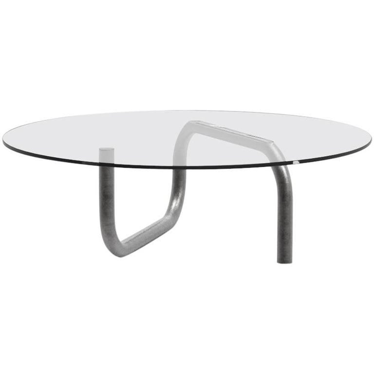Steven Bukowski Isamu Coffee Table in Oxidized Steel and Glass