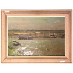 Oil on Canvas Signed Maxwell Stewart Simpson Dated 1956 Row Boots