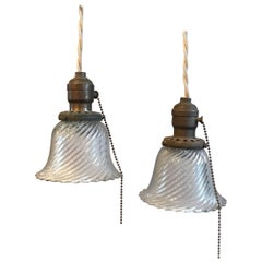 Industrial Petite Diagonal Swirl Holophane Bell Pendant Lights