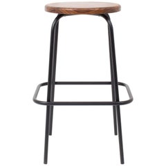 Steven Bukowski Flora Coffee Stool in Walnut and Powder Coated Steel