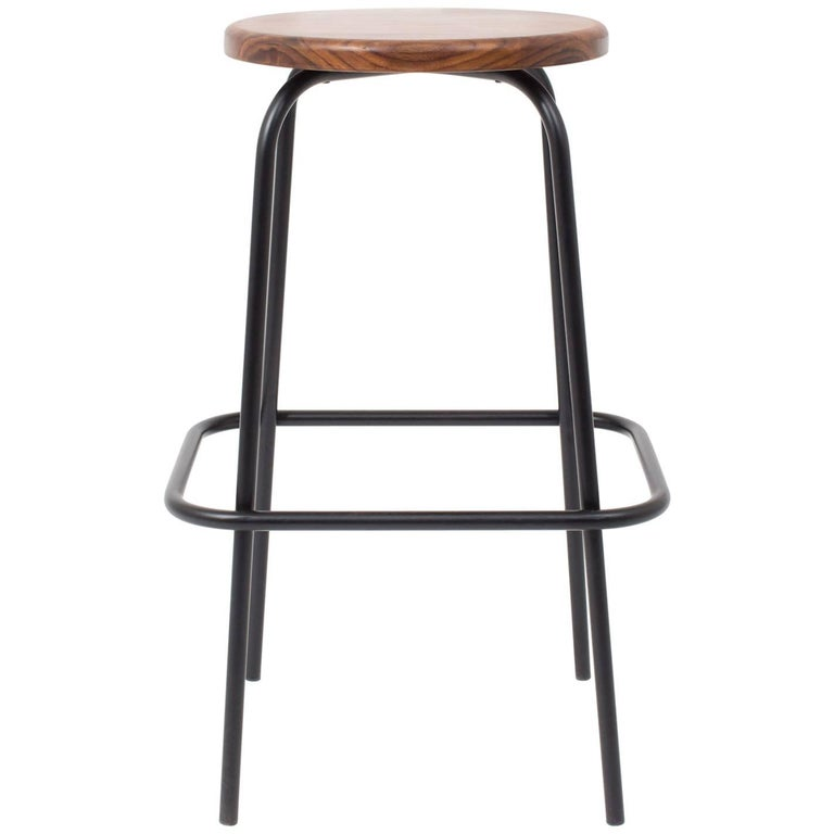 Steven Bukowski Flora Coffee Stool in Walnut and Powder Coated Steel For Sale
