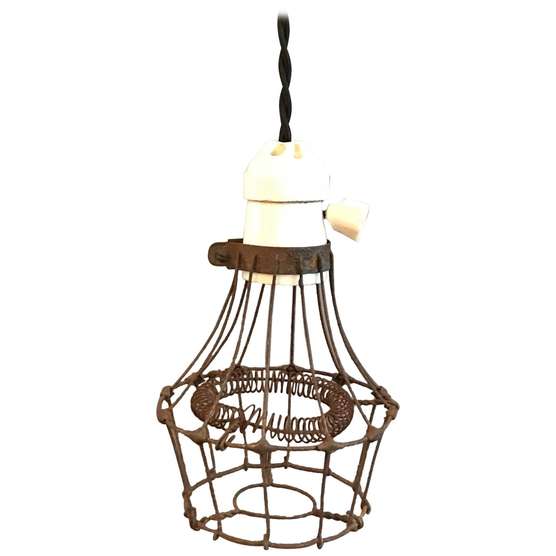 Industrial Porcelain and Steel Wire Cage Pendant Light