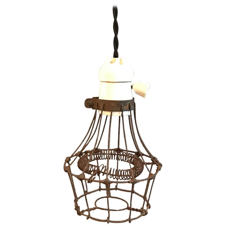 Wire Cage Pendant Light | Industrial Porcelain And Steel Wire Cage Pendant Light For Sale At