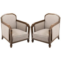 Pair of Bergere Chairs with Angled Oak Silhouette