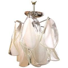 Mid-Century Modern White & Transparent Glass Leaves Chandelier