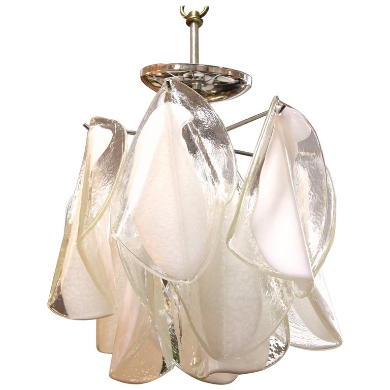 Mid-Century Modern White & Transparent Glass Leaves Chandelier For Sale