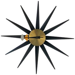 George Nelson Spike Sunburst Clock for Howard Miller, circa 1960, Signed