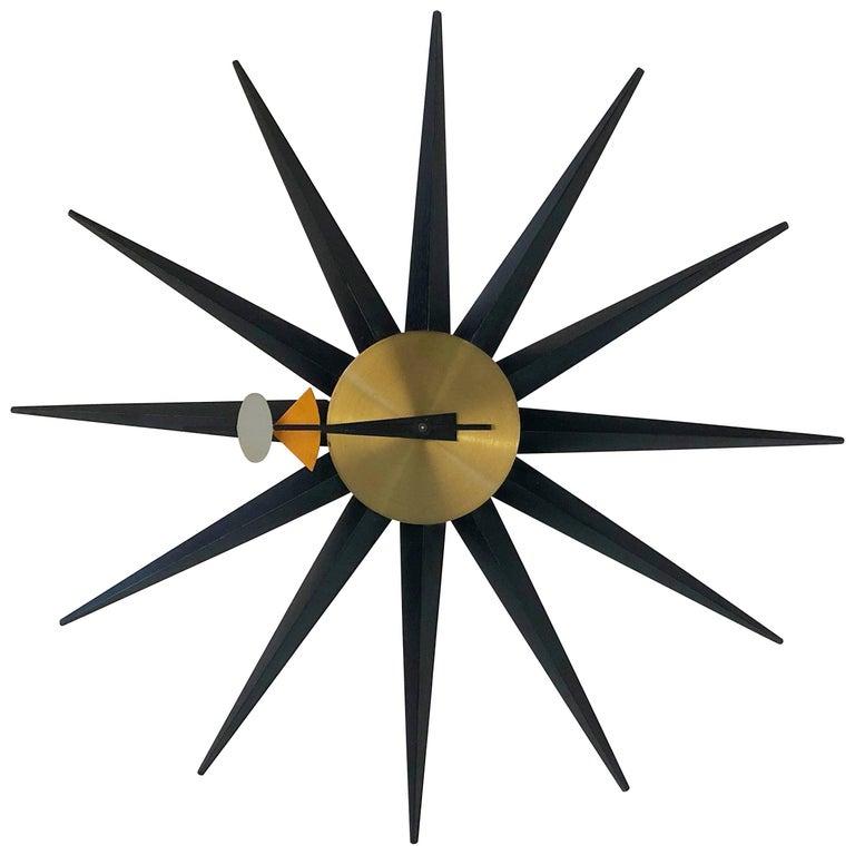 George Nelson Spike Sunburst Clock for Howard Miller, circa 1960, Signed