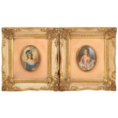 Two 19th Century Miniature Signed Hand-Painted Portraits