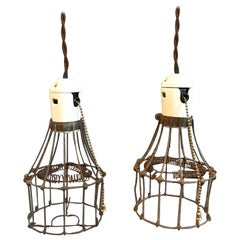 Industrial Porcelain and Steel Wire Cage Pendant Lights
