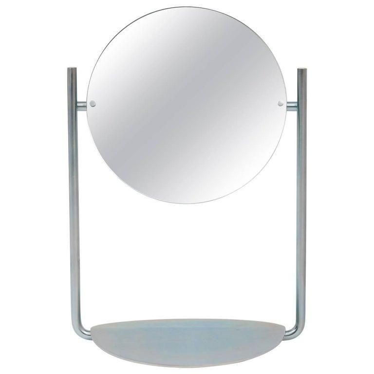 Steven Bukowski Harp Vanity Mirror in Satin Brass or Zinc Chromate For Sale