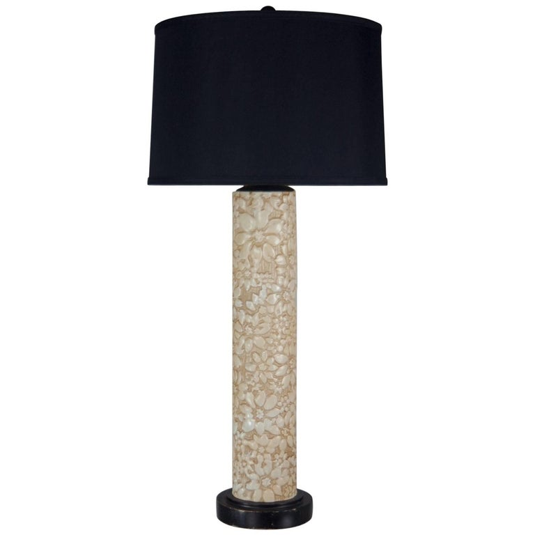 Ivory Ceramic Embossed Flower Table Lamp with Black and Gold Shade