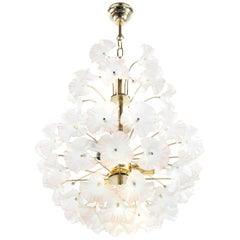 """Murano Glass and Brass """"Hibiscus"""" Chandelier, Italy, 1950s"""