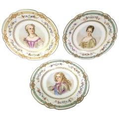 Three Sevres Porcelain Chateau De St. Cloud Portrait Plates, 1846