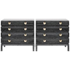 Stacked Bedside Tables in Black Ceruse