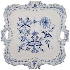 19th Century Meissen Porcelain Blue Onion Sculpted Large Square Handled Platter
