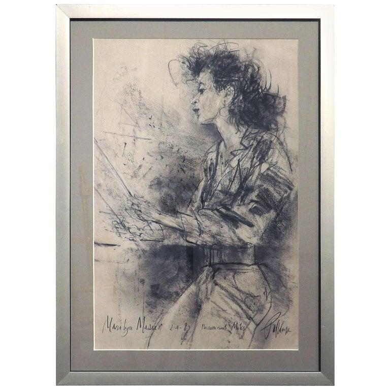 Portrait of Marilyn Mazur by Piet Klaasse, Dated 1987