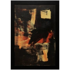 Moody Expressionist Oil Painting in Orange, Yellow and Black