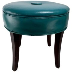 Vanity Stool Pouf in Original Turquoise Leather Upholstery