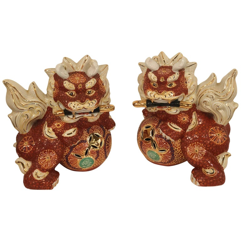 Pair of Foo Dogs Made in Japan Chinoiserie Vintage For Sale