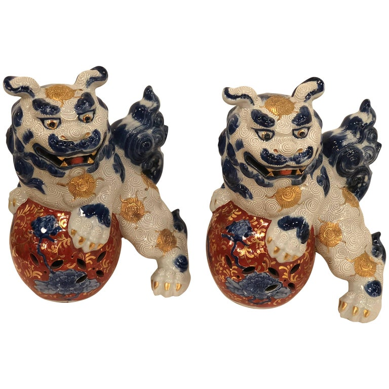 Pair of Blue and White Foo Dogs  For Sale