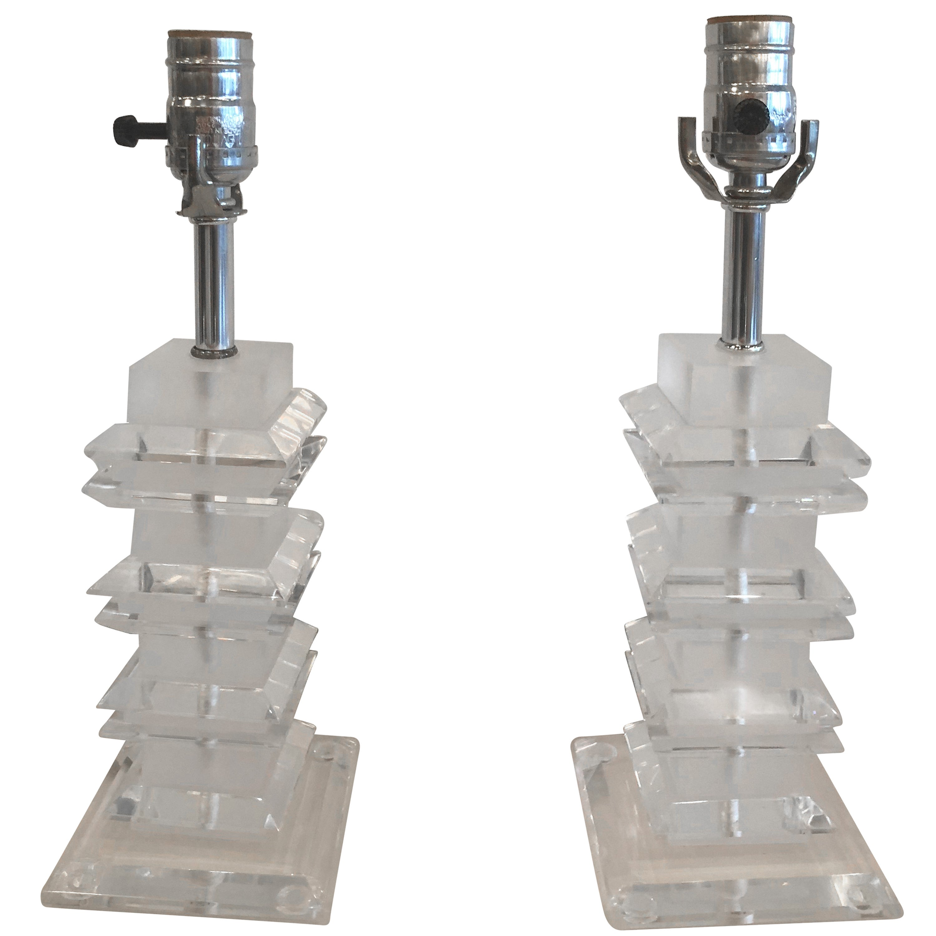 Vintage Pair of Clear and Frosted Lucite Pagoda Table Lamps