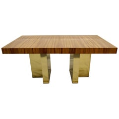 Milo Baughman Brass and Exotic Brazilian Rosewood Dining Table for Thayer Coggin