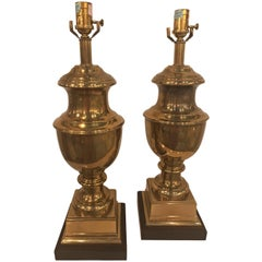 Vintage Pair of Ethan Allen Brass Urn Table Lamps Hollywood Regency