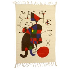 Large Wool Wall Hanging in the style of Joan Miro