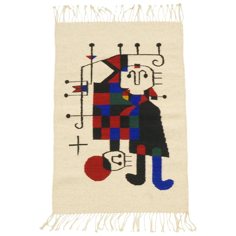 Wool Textile Wall Hanging in the style of Joan Miro