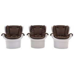 Mod Molded White Plastic, Chocolate Vinyl Lounge Chairs, 1970s