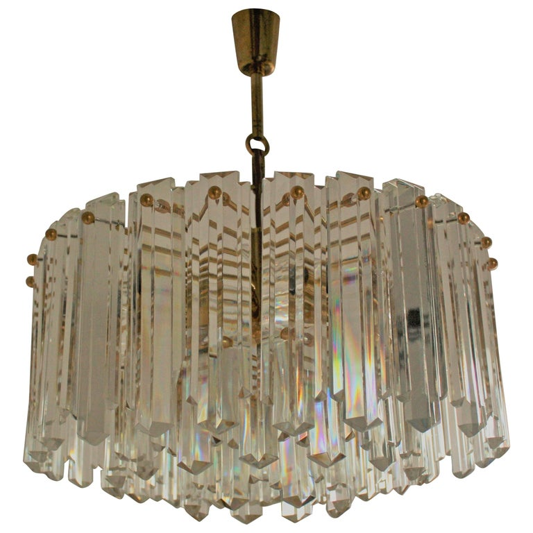Large Mid -Century Chandelier by J.T.Kalmar, Gilt Brass and Glass, circa 1960s