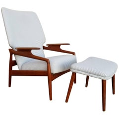 Danish Modern Teak Lounge Chair & Foot Stool