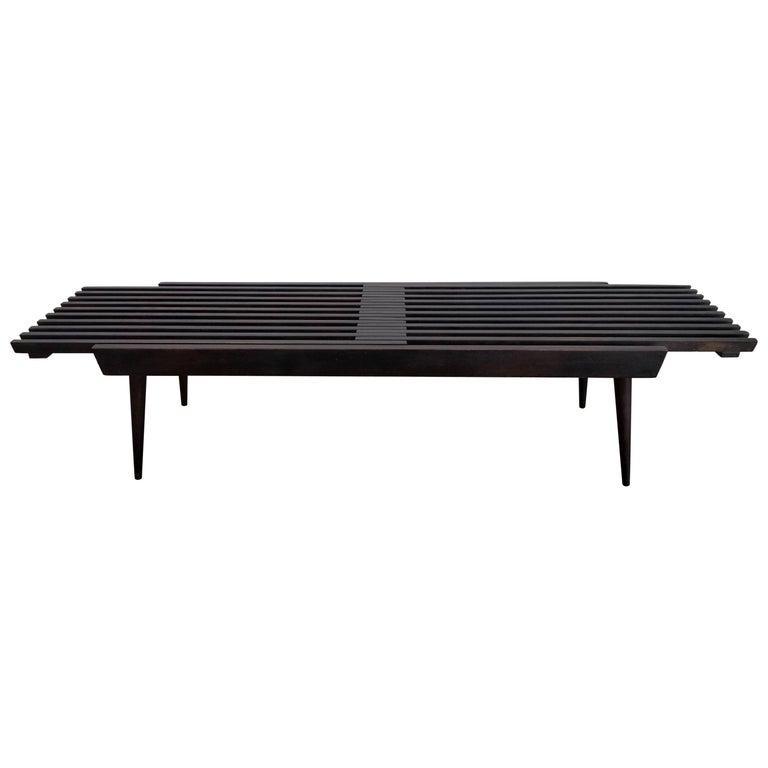 Expandable Hardwood Slat Bench
