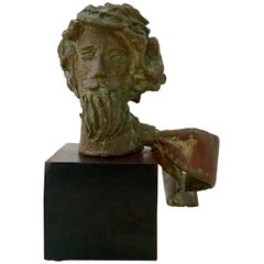 Mid-20th Century American Bronze Male Bust Sculpture By, David Adickes