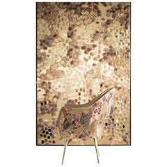Hand Crafted Embroidered Textile Tapestry Fibre Art  Gold Mirrors and Goldwork