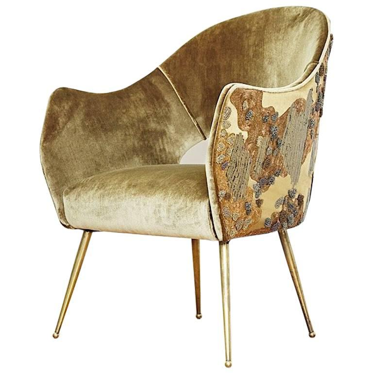 Hand crafted Midcentury Chair Gold Embroidery by Geraldine Larkin For Sale