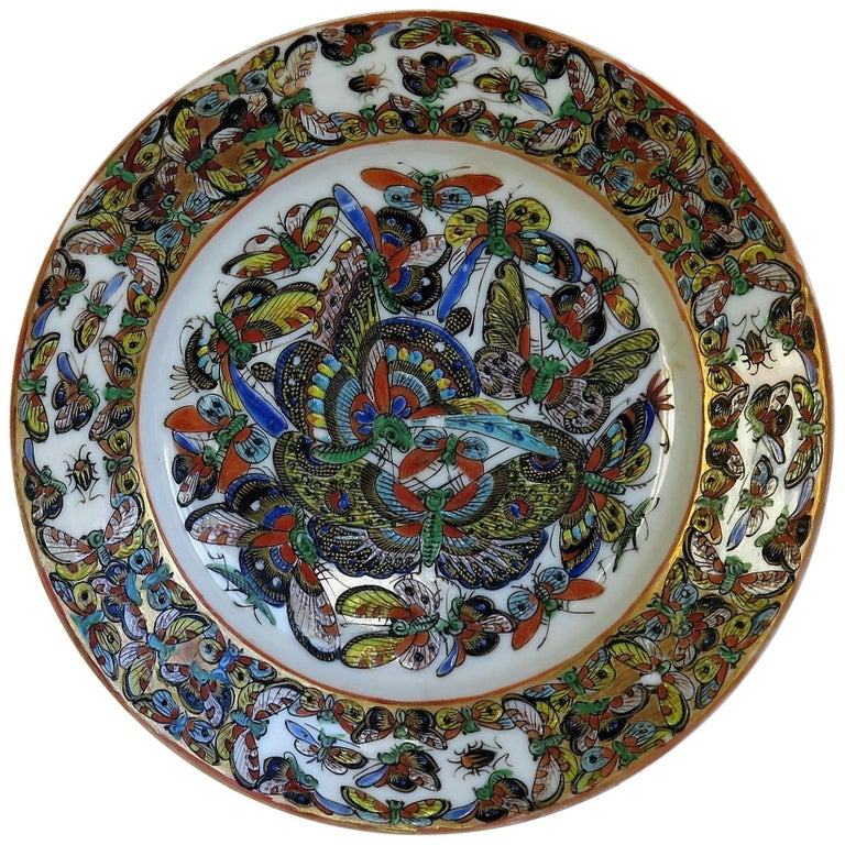 Chinese Export Porcelain Plate Butterfly Pattern, Qing Early 19th Century